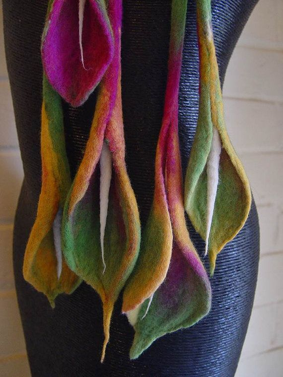 ~Blush Calla Lilium  hand felted necklace by InnovativeArtWear