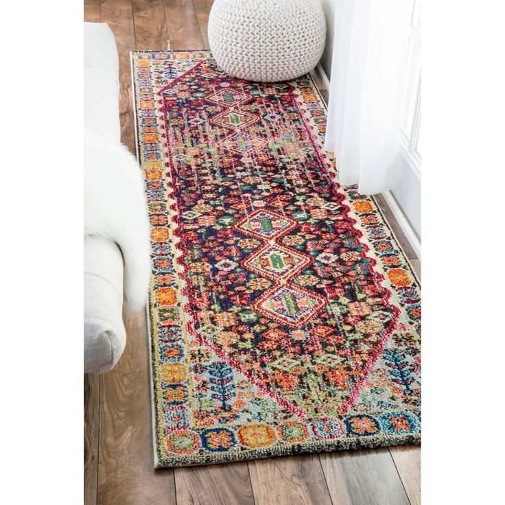 nuLOOM Distressed Traditional Flower Persian Multi Runner Rug (2'6 x 8') (Multi), Blue, Size 2' x 8' (Polypropylene, Floral)