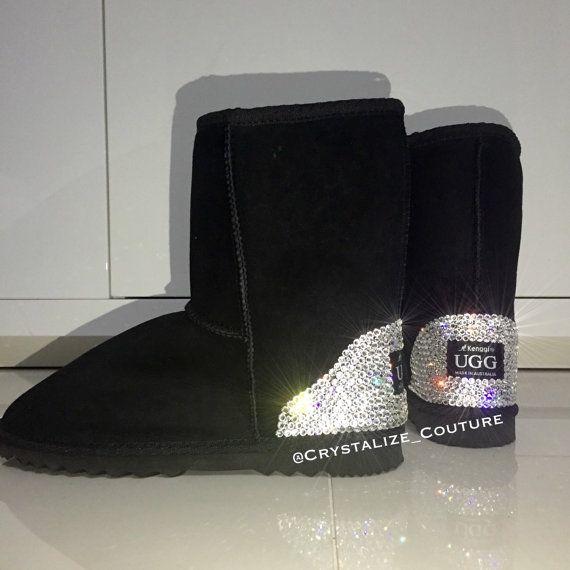 Vera pelle di pecora australiana fatta UGG stivali media altezza impreziosito da cristalli Swarovski / scarpe / stivaletti / stivali invernali