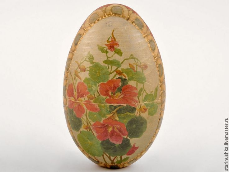 Купить Антикварное огромное пасхальное яйцо. Дерево. 19 век. - разноцветный, Пасха, яйцо, роспись