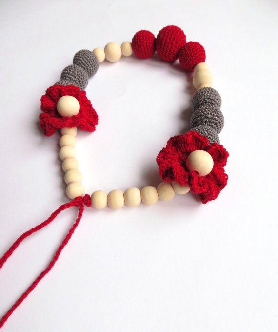 Red & grey crochet necklace Organic boho necklace di Meiroadas