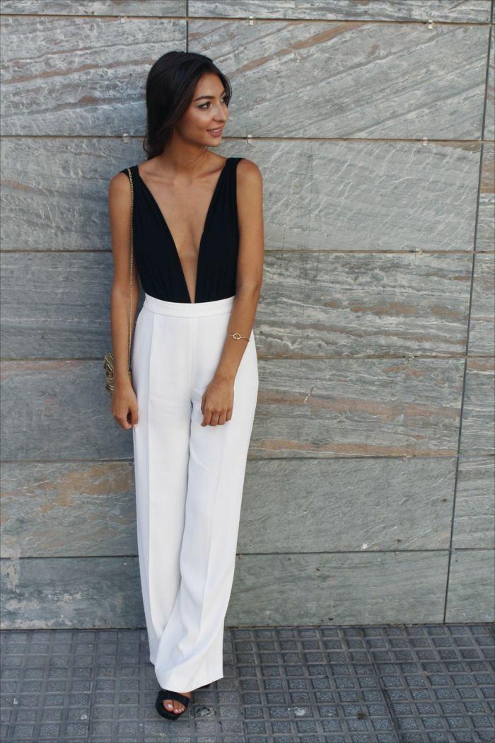 8c1f07d3d ejemplos-de-monos-de-vestir-para-bodas-bonito-bono-en -blanco-y-negro-pantalon-largo-y-ancho-parte-superior-escote-negro