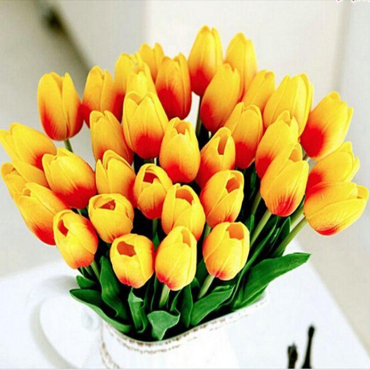 20 unids/lote Tulipán Flor Artificial 2017 Ramo de la Boda Real Touch PU Flores Artificiales Decoración Del Hogar Flores Decorativas