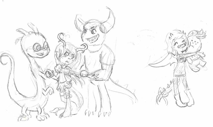 Fan Sketches with MU Canon and Fan characters. To the left is my OC with Randall (her first Crush) and Johnny. See, Johnny likes her, but she hates him. To the right is Cleo. Since my little sister loves squishy I drew her character with him