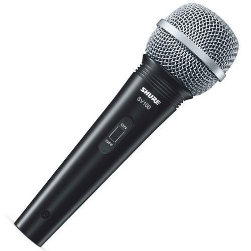 Microfone Fio Shure Sv100 Com Cabo 2 Anos De Garantia - Dinâmico; Resposta De Frequência: 50 a 15,000 Hz; Padrão Polar: Cardióide; Impedância: 600 Ohm; Nível De Saída: -52 Dbv/Pa A 1khz 1 Pa=94 Db Spl Conector - Xlr -¼ (6.3 Mm) Chave: On/Off Acompanha Cabo Xlr - P10 De 4,5 Metros.