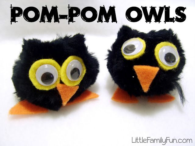 """Little Family Fun: Pom-Pom Owls (could do different animals, create a """"scene"""")"""