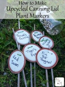 Re-use those single-use canning lids by making upcycled canning lid plant markers for all your garden identification needs.