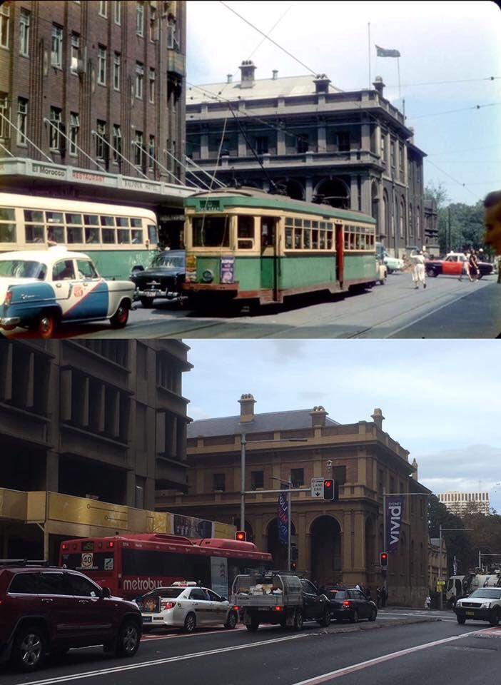 Elizabeth Street near King Street, Sydney in circa 1957 and in 2016. [highriser.blogspot.com.au/via Old Sydney Town Facebook > Phil Harvey. By Phil Harvey]