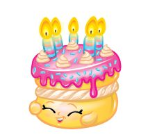 Wishes (Shopkins 1-085, 1-095) Wishes is a dark pink (presumably strawberry flavored) cake with light pink frosting, a band of white cream around her forehead, and four yellow candles atop her head. Her variant is a vanilla cake with white frosting, a band of strawberry jam around her forehead, and four green candles atop her head. Wishes is an ultra rare Party Food Shopkin from Season One.