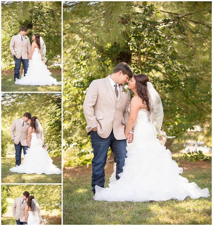 Fit and flare wedding dress. Organza bustle. Wedding gown. Bridal dress. Betty's Creek barn Dillard Georgia wedding. Tweed suit jacket. Tweed groomsmen.