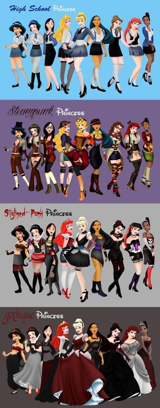 Gli Arcani Supremi (Vox clamantis in deserto - Gothian): I look delle Principesse Disney tra High School, S...