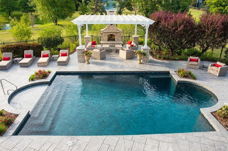What Do You Think Of This Classic Roman Style Pool We Built And Look At That Inground Pool Landscaping Backyard Pool Designs Cool Swimming Pools
