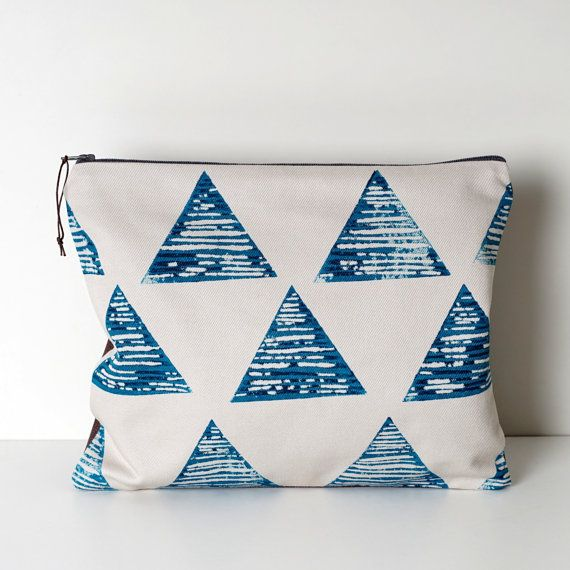 Large Zipper Pouch, Travel Organiser, Large Pencil case,Hand printed,
