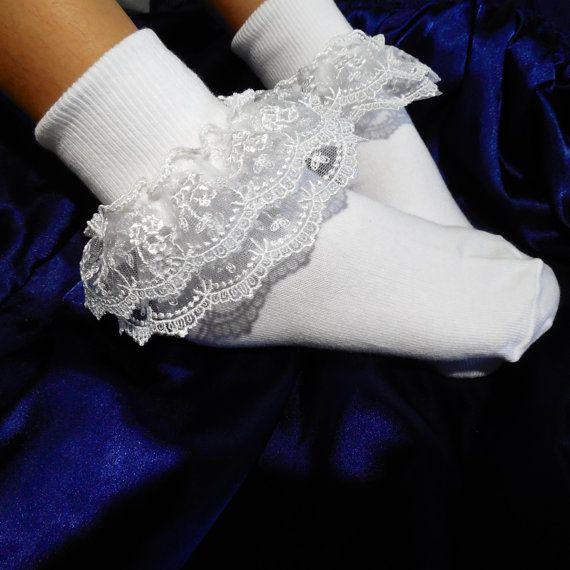 Ruffled white socks with fancy lace by Lulushandmadestuff on Etsy