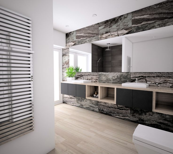 Erdvi bei moderni vonia su Rainforest kolekcija. #apdailosnamai #visualizatio #bathroom #design #modern #rainforest #mariner #stone #wood