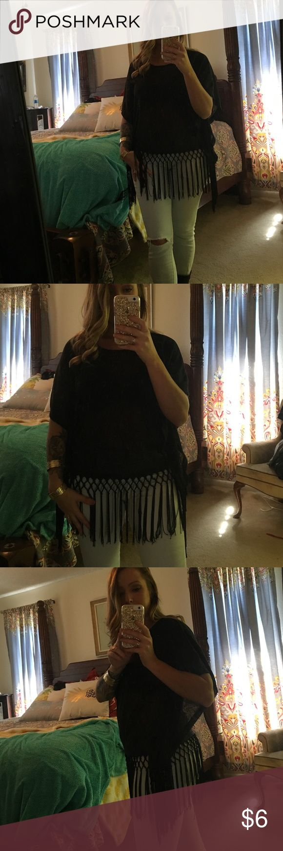 Black shear batwing tassel shirt Photo doesn't do it justice.  Light weight shear.  Good condition Tops Blouses