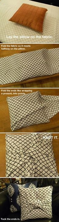 No sew pillow. Perfect! Change any pillow you have to match your own decor' :)  Johnston  http://johnstonmurphymensclothing.gr8.com  More Mens Fashion   Johnston & Murphy  http://johnstonmurphy.gr8.com #diy http://pinterest.com/ahaishopping/