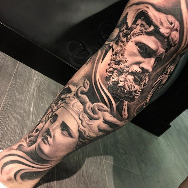Greek Statue Half Leg Sleeve The Medusa Is Fully Healed Sirfocus Toronto Mississauga Brampton Tattoo Tattoos Full Body Tattoo Body Tattoos Statue Tattoo