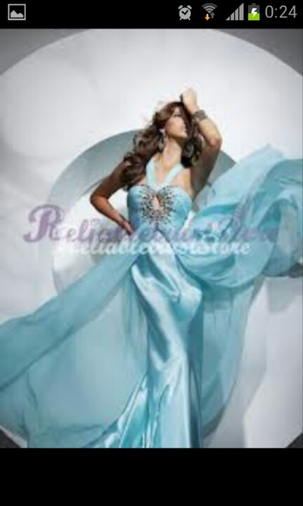 Beautiful Aline Blue Halter Chiffon Prom Dress