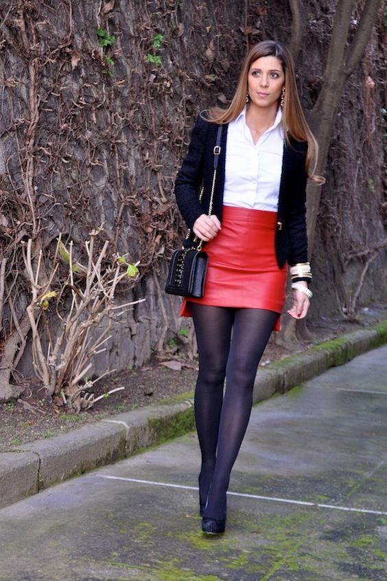 Mini Skirt Stockings Teen