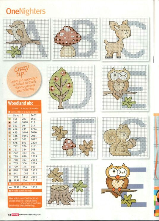 Woodland Cross Stitch Alphabet Pattern