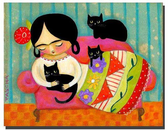 ORIGINAL Frida Kahlo with Black CATS folk art acrylic on canvas painting by tascha