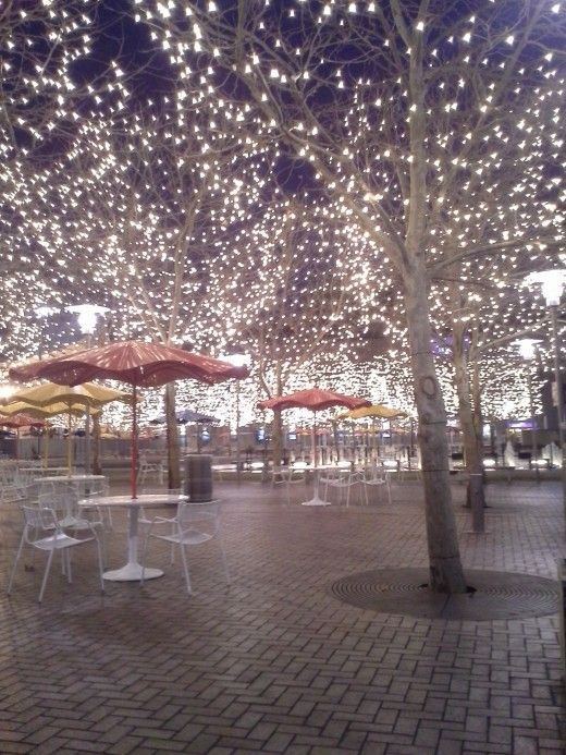 The wintery lighting between the Ice Terrace and Panera Bread at Crown Center in Kansas City, Missouri.