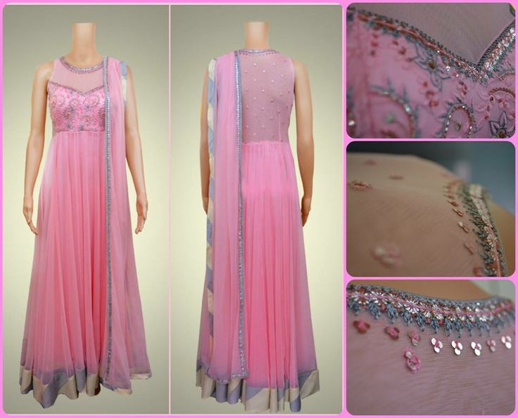 Look scintillating in this gorgeous anarkali with a sequin embroidered yoke and contrasting borders.