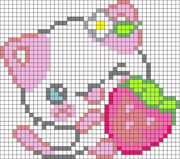 Pink Kitty Perler Bead Pattern / Bead Sprite