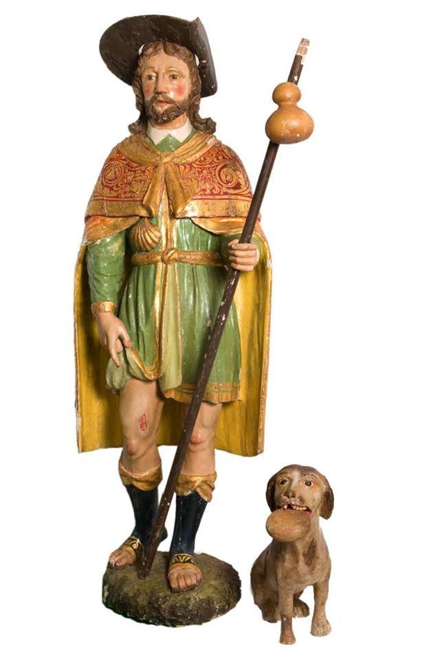 San Rocco, statua lignea con cane del secolo XVIII, altezza 133 cm. - www.valcavargna.com/?q=visita_religiosa