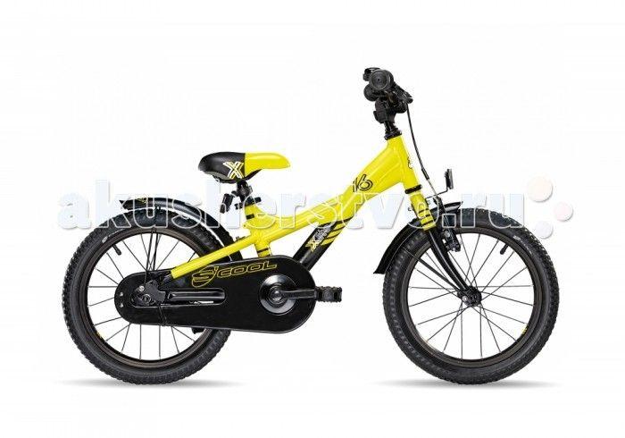 Велосипед двухколесный Scool XXlite 16  Детский велосипед Scool XXlite 16 для детей с ростом от 100 см от 3-х лет. Велосипед собран на современной облегченной раме и имеет все необходимое: регулировка подъёма руля по высоте для выбора оптимальной посадки, полноразмерные металлические крылья для лучшей защиты от грязи.   Защитный кожух на цепь предотвращает попадания штанов в систему. Классический педальный тормоз, плюс ручной тормоз переднего колеса.   Вес - 9.6 кг Размер колёс - 16 Рама…