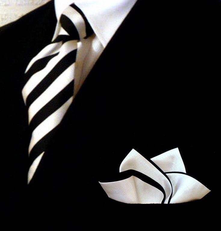 Love the sharp black and white! Grooms, Bridal Party, Weddings via http://www.PocketSquareZ.com