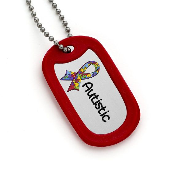 Autistic Dog Tag with Red Silicone Silencer and by MyIDSquare