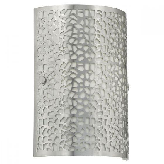 Eglo Almera 1 Satin Nickel Metal & White Glass Wall Light - 90076