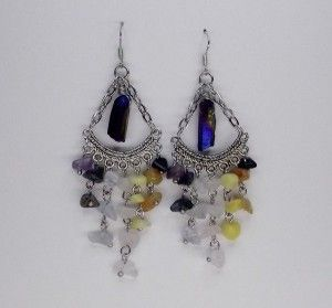 Mixed Gemstone Chakra Chandelier Earrings