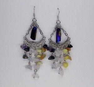 Mixed Gemstone Chakra Chandelier Earrings