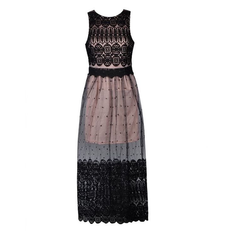 MAXI DRESS WITH MIXED LACE AND MESH