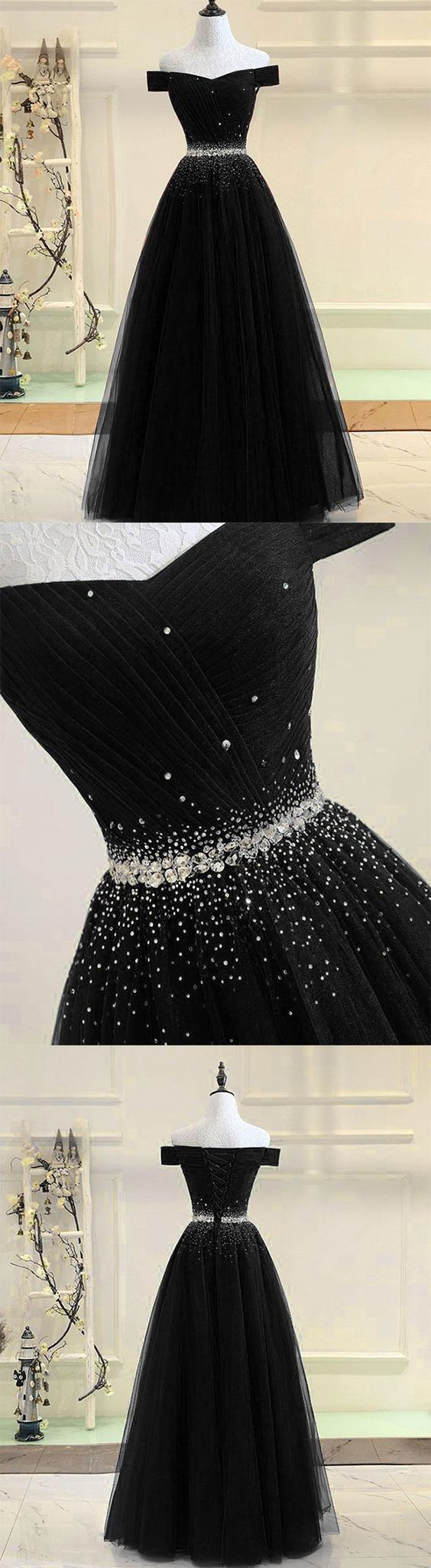 Custom Made A Line Prom Dresses, Black Tulle Long Evening Dress