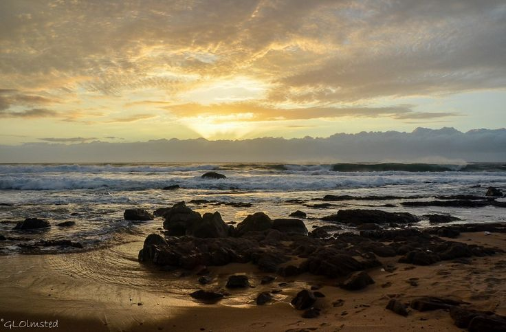 Sunset over Indian Ocean Scottburgh South Africa http://geogypsytraveler.com/2014/08/29/foto-friday-fun-74/