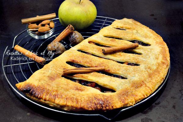 Recette chausson aux pommes géant vanille, marrons glacés et cannelle