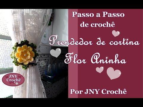 Passo a Passo de Crochê Prendedor de Cortina Flor Aninha por JNY Crochê - YouTube