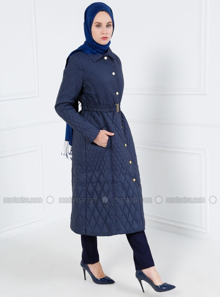 Quilted Topcoat - Navy Blue - Refka