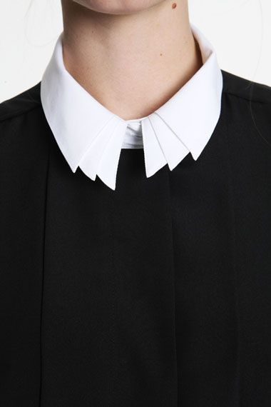 Triple Collar Detail - white shirt reinvented; multiplied fashion design details; creative sewing // Urban Outfitters