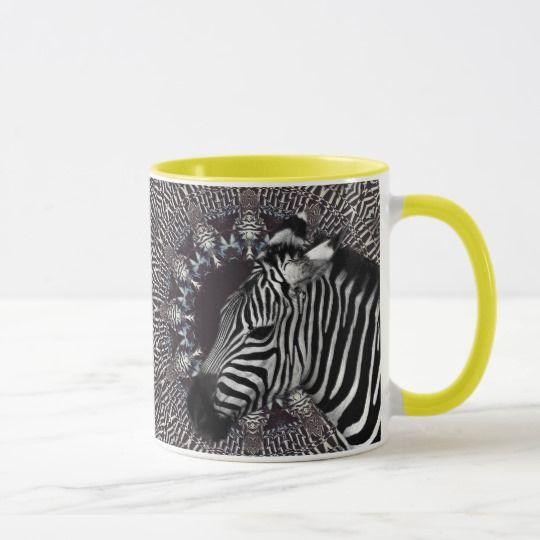 Zebra Art Yellow Combo Mug by www.zazzle.com/htgraphicdesigner*
