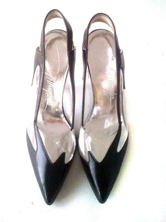 Vintage 1980's Thierry Mugler Black Leather & by kersongalleryps, $375.00