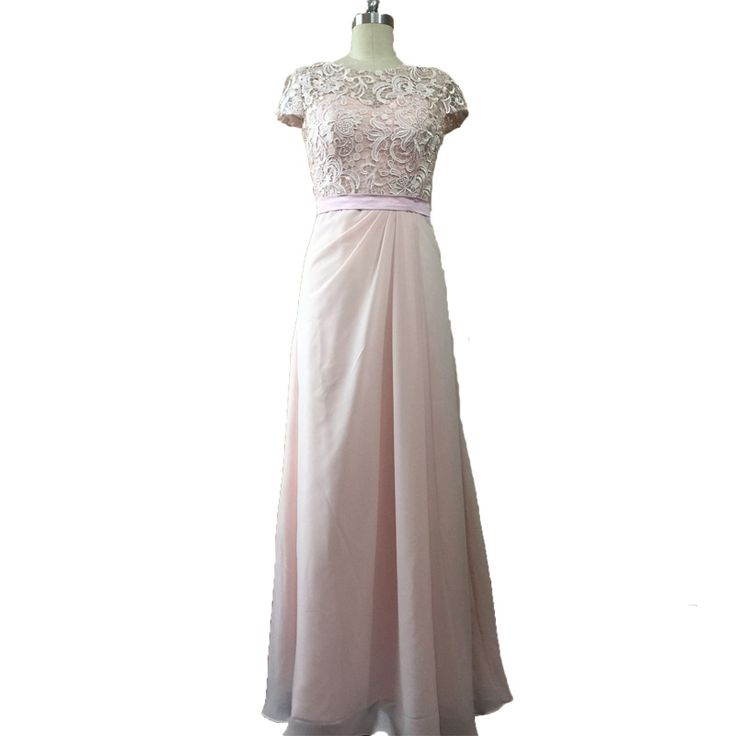 >> Click to Buy << Real Image New Arrival Pink Chiffon Bridesmaid Dresses Cap Sleeves Lace Floor Length Long Bridesmaid Dresses #Affiliate
