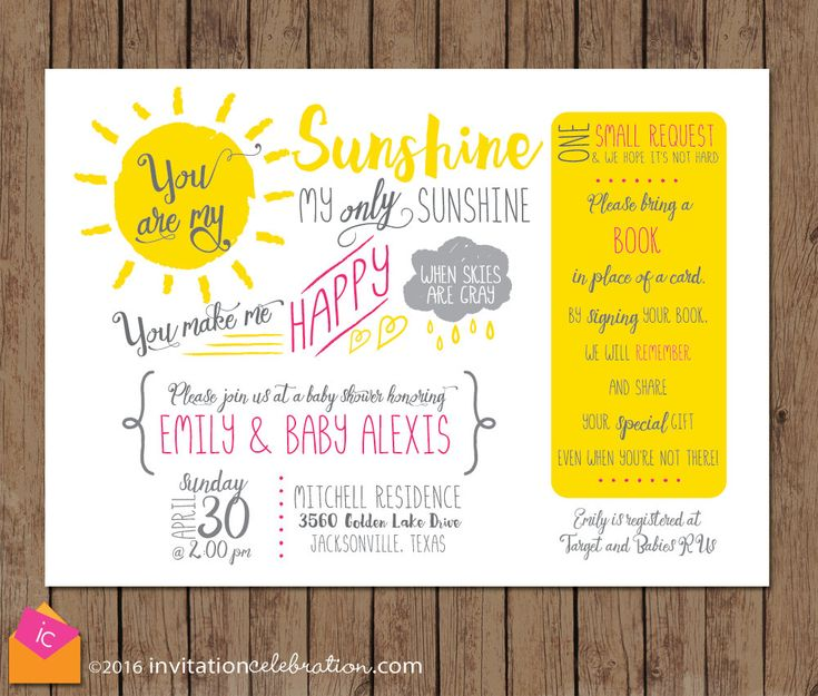Sunshine Baby Shower Invitation - You Are My Sunshine - Bring a Book Shower - Choose Digital or Printed w/Envelopes by InvitationCeleb on Etsy
