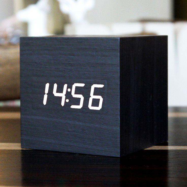 White LED Black Cube Clock