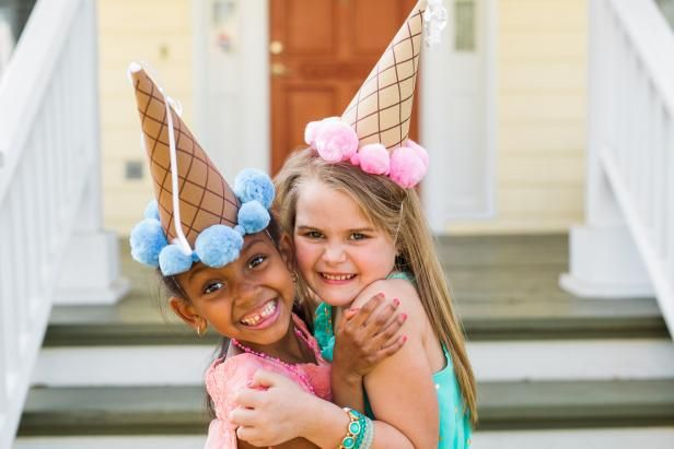 Basic craft supplies are all you'll need to whip up these playful party hats that kids will love wearing during the party and can take home as a fun favor.