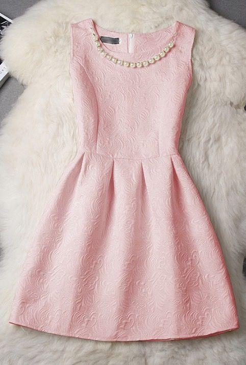 Textured Vintage Sleeveless Pale Pink Dress